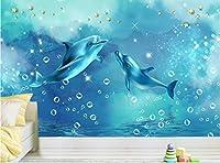 Bzbhart テレビの背景装飾画、壁用ステッカー3Dカスタムモダンな写真の壁紙ファッション立体背景壁の壁画北欧ミニマリズム青い海イルカの壁紙壁画-250cmx175cm