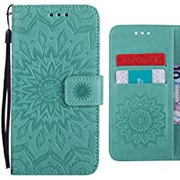 Xiaomi Mi 6 ケース 手帳型, Ougger 咲く花 印刷 高級PUレザー ケース 手帳型 保護ケース カードポケット付き 横置きスタンド機能付き マグネット式 スマホケース スマートフォンケース (緑)