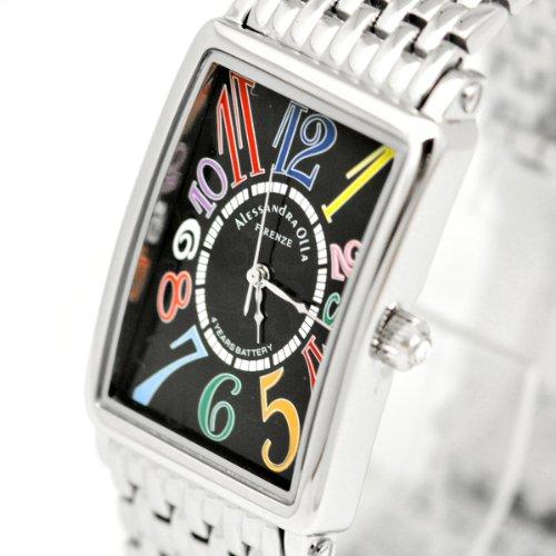 [アレサンドラオーラ]Alessandra Olla 腕時計 カーブガラス ブラックxカラフルインデックス AO-1990-4 メンズ