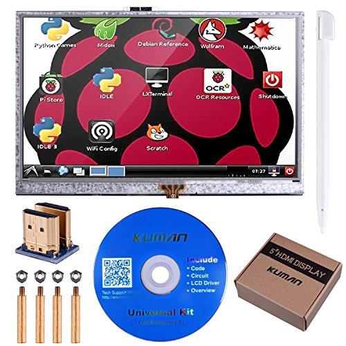 Kuman 5インチ Raspberry Pi用ディスプレイ 800*480 解像度 TFTモニタ タッチスクリーン タッチパネル Raspberry Pi 3 2 Model B B+ A A+ 用ディスプレイ ラズベリーパイ SC5A