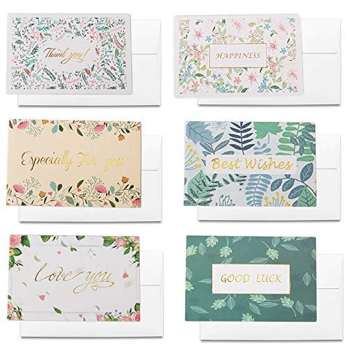 A-Focus メッセージカード 感謝カード 感謝状 祝賀状 グリーティングカード 友達へ 恋人へ 家族へ 大切な人へ 13X9CM 封筒付き 6種類6枚
