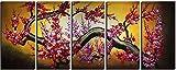 絵画工房 5 枚組 【 梅の花 】 油絵 風景画 木枠 60cm x 150cm , 100% 手描き 壁に飾る モダンアート 壁キャンバス 梅の絵 おしゃれな 縁起物 梅の絵 CDB076