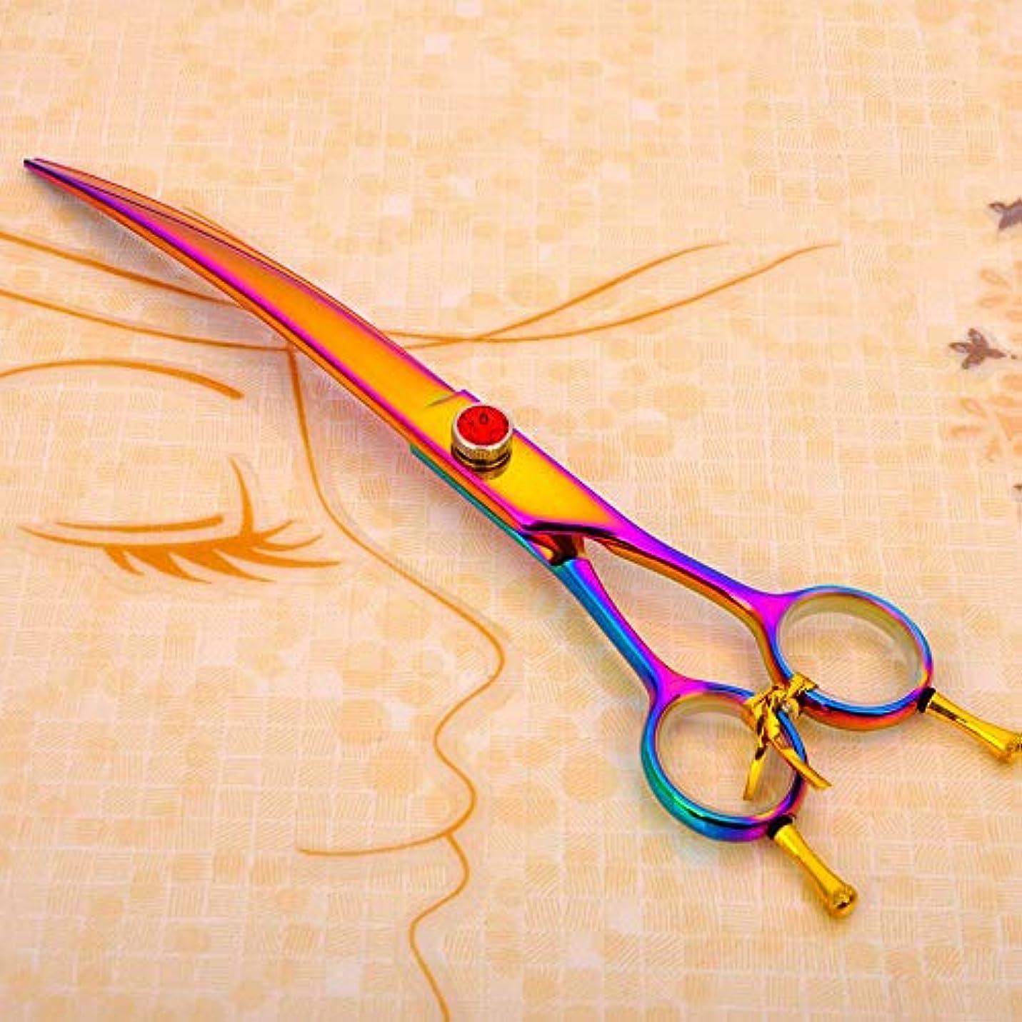 カラスコンドーム強調する理髪用はさみ 8.0インチの両側曲げ鋏、ペットグルーミングはさみ、ヘアカットはさみ、曲げはさみヘアカットはさみステンレス理髪はさみ (色 : 色)