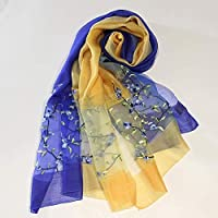 QingYun Trade レディースシルクショール刺繍入りショールシルクスカーフ送る家族の友達完全にユニークな気質を表す (Color : Brown, サイズ : M)
