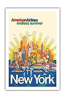 ニューヨーク - アメリカン航空 - 無限の夏 - ビンテージな航空会社のポスター によって作成された ハリー・ヴェンツィンガー c.1971 - プレミアム290gsmジークレーアートプリント - 61cm x 91cm