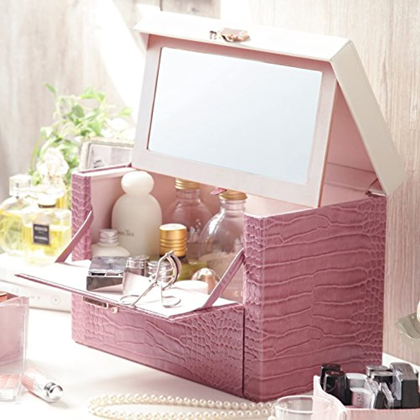 上昇該当するアーサーおしゃれな 鏡付き クロコ柄 メイクボックス ピンク