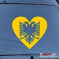 3s MOTORLINE Coat of Arms Love Albaniaデカールステッカー双頭の鷲ハート車ビニール 12'' (30.5cm) ブラック 20180711s54
