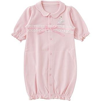 e17b1aec73c74 (チャックル) chuckle   スウィートガール   スワン 刺繍 リボン 新生児 ツーウェイオール ピンク 50-60cm P5202-00-20