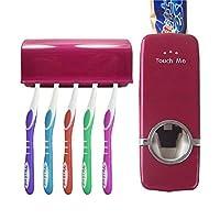 Touch Meハンズフリー歯磨き粉ディスペンサー自動歯磨き粉絞り器とトイレブラシブラシホルダー/歯ブラシホルダーセット( 5)