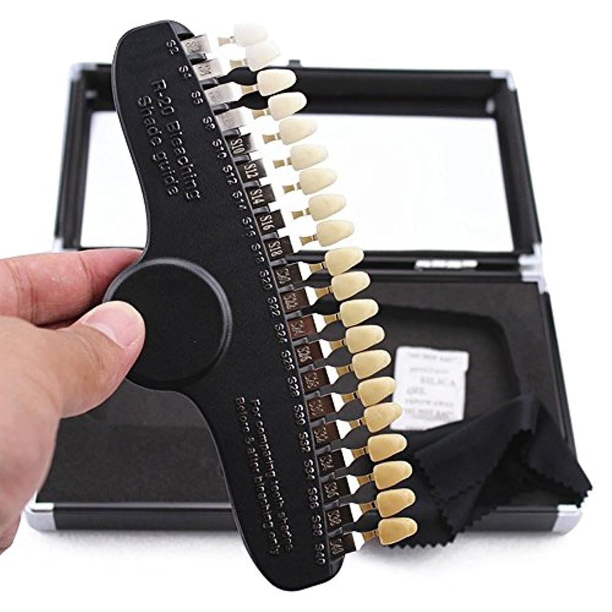 ねじれ剪断悪名高いPochiDen 歯科ホワイトニング用シェードガイド 20色 3D 歯列模型ボード