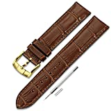 CHIMAERA 18mm 19mm 20mm 21mm 22mm イタリア 牛革 本革 時計バンド ストラップ 腕時計ベルト ゴールド尾錠 (6色 ) ブラウン