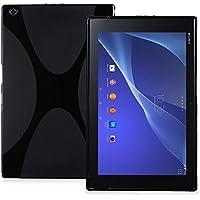 Xperia Z4 Tablet TPU グリップカバーケース 薄型軽量 (  docomo SO-05G / au SOT31 / SONY SGP712JP Wi-Fiモデル 10.1 インチ タブレット 対応 ) 伸縮ソフト素材 / 落下防止 / 滑止め加工 / スリムフィットデザイン Slim Fit Cover Case【MY WAY出品カラー全3色】 (Xperia Z4 Tablet, Design X Black (ブラック))