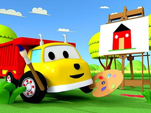 サンと家の絵を描きながら形を学ぼう & サンと海賊船ペイントボールで色を学ぼう-ダンプトラックのイーサン