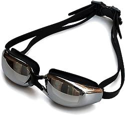 X.A スイミングゴーグル 度付き ミラーゴーグル 水泳ゴーグル 度付きレンズ 度付き ゴーグル 曇り止め、柔らかいシリコーンクッション付き 紫外線カット ベルト調節可 ゴーグルケース付き 耳栓付き 男女兼用 フリーサイズ