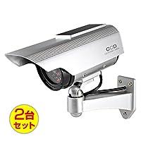 (お得な2台セット)ダミーカメラ 防犯カメラ ソーラーパネル バッテリー 防雨タイプ (OS-163) シルバー