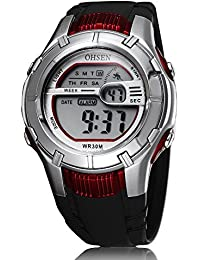 OHSENブランドアラーム日付週色バックライト男の子女の子デジタルスポーツ腕時計