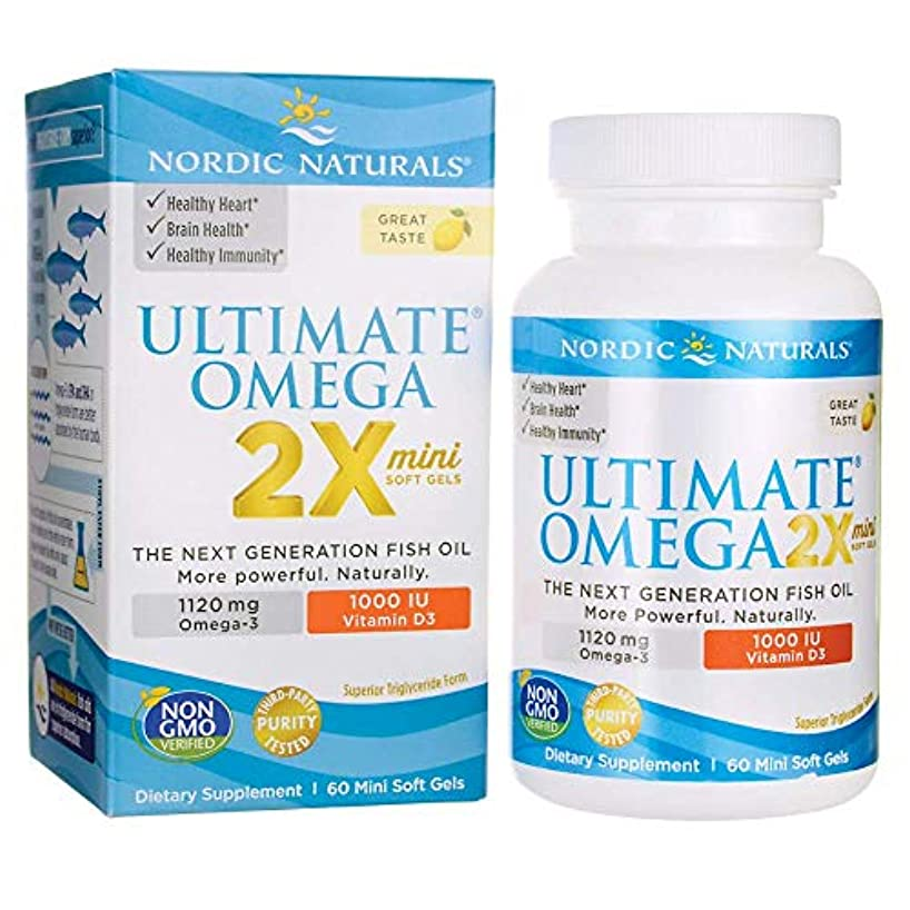 Nordic Naturals Ultimate Omega 2x Mini with D3 アルティメットオメガ 2x ミニ ウィズ D3 レモン味 60錠 [海外直送品]