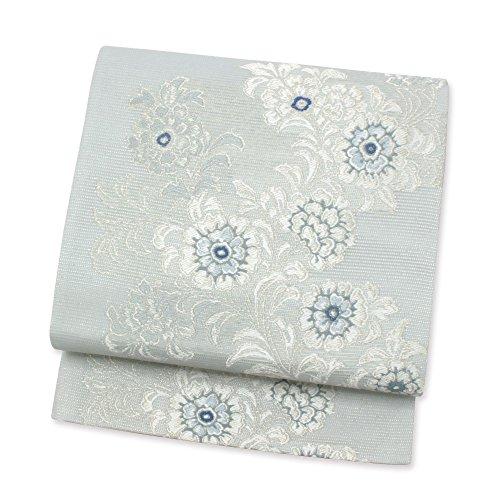 (キステ)Kisste 夏袋帯 お仕立て上がり 正絹夏袋帯 浅山織物謹製 <薄ミントグレー/牡丹> 六通柄 6-4-00431