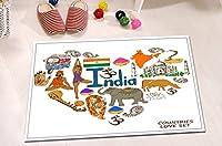 LB Indianテーマ動物Yoga Zenインテリアラグのバスルームベッドルーム、アンチスキップゴムBacking快適ソフトサーフェス、愛インド文化家装飾15x 23cm