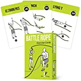 Battle Rope Exercise Cards, Set of 62 :: with Guided Strength Training Workouts for Home or Gym :: Illustrated Fitness Cards with 50 Exercises :: Large Size, Durable & Waterproof