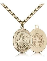 Saint Benedict Medals – ゴールドメッキベネディクトゥスペンダントIncluding 24インチネックレス