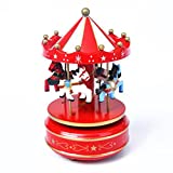 xuanmax回転木製カルーセル音楽ボックス4-horse merry-go-round Toy with Castle in the Sky Melody forクリスマス誕生日バレンタイン..