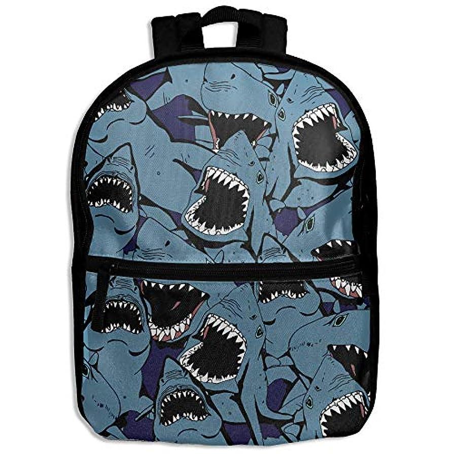 作り建物牧師キッズバッグ キッズ リュックサック バックパック 子供用のバッグ 学生 リュックサック 怒っている サメ 動物柄 海 アウトドア 通学 ハイキング 遠足
