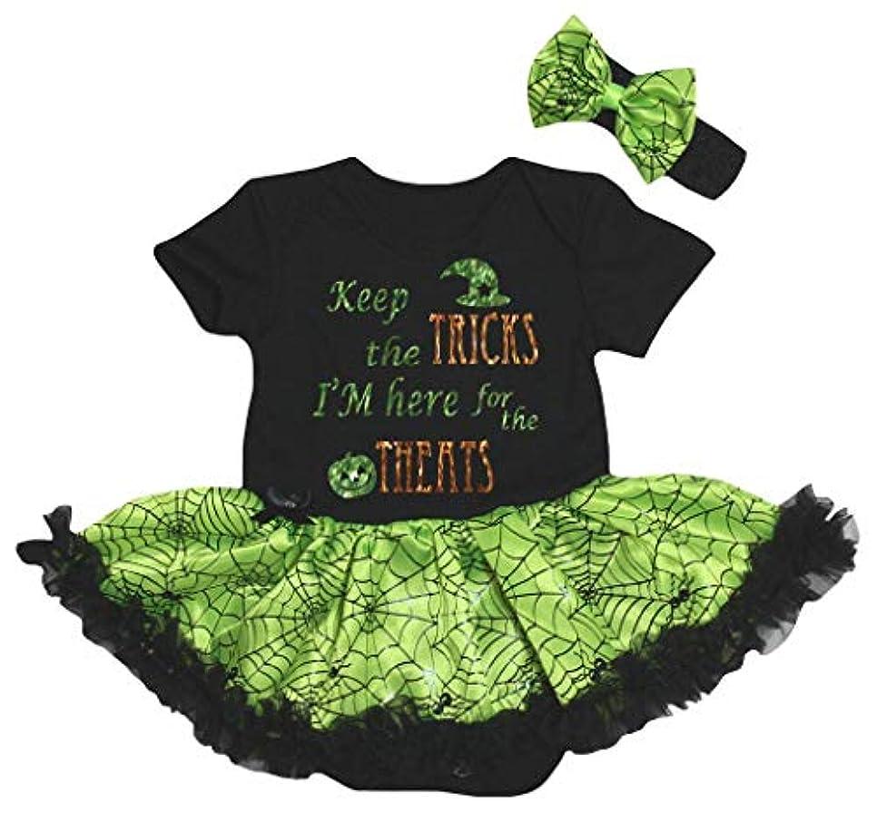 いらいらさせる構造確保する[キッズコーナー] ハロウィン Keep The Tricks ブラック グリーン コブウェブ 子供ボディスーツ、子供のチュチュ、ベビー服、女の子のワンピースドレス Nb-18m (ブラック, Small) [並行輸入品]