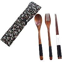 木製 カトラリー セット 箸 スプーン フォーク お弁当 カレースプーン 箸袋を付け 4点セット (ブラック)