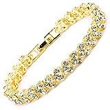 MAX World ブレスレット レディースファッション ピンクゴールド CZダイヤモンド キュービックジルコニア (ゴールド)
