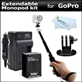 27 Extendable Pocket Size Monopod Extender And Tripod Adapter for GoPro HD HERO3+, HERO3 + Replacement Battery and Charger For GoPro AHDBT-201, AHDBT-301, AHDBT-302 [並行輸入品]