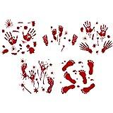 ゴシレ Gosear 10枚のおかしい血まみれの手帳の足跡自己粘着性の壁のフロアのステッカーハロウィーンのパーティーのためのデカールハウツトハウスの家