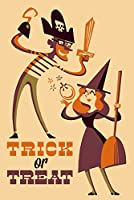 Trick or Treat–Mom and Dad–レトロハロウィン 24 x 36 Signed Art Print LANT-83191-710