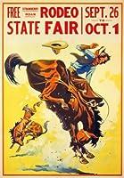 1930アメリカステートフェアロデオカウボーイポスター再印刷A3平行輸入