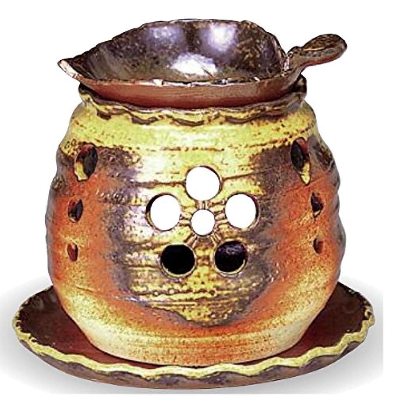 レンズピカソ船常滑焼 茶香炉(アロマポット)木ノ葉皿 径10×高さ10.5cm