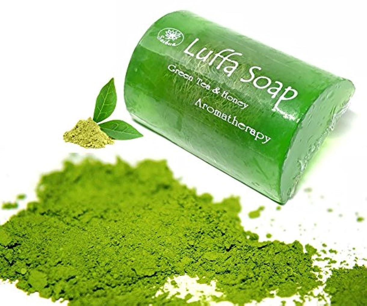 発生弱点韻Soap Net Nature Handmade Aroma Aroma Tea & Honey Scrub Herbal Natural Relaxing After Work & Sport A luffa middle...