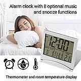 目覚まし時計 デジタル 置き時計 掛け時計静音時計 6つの機能ボタン 温度表示 日付 年 月 日表示 バッテリー駆動 大きなLED数字表示 住宅時計 芸術装飾時計 (重量:85g サイズ:8.5×7.7×1.2cm)