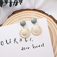 Boyuanweiye001 ファッションキャンディカラーの石とアクリルドロップピアス単純な幾何学的ラウンドボタンのステートメントイヤリングスムース,美しいボディジュエリー (色 : A green white)