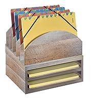 Bindertek 積み重ね式木製デスクオーガナイザー ステップアップファイル&トレイ2セット ベージュ