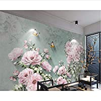 Wuyyii カスタム壁紙ヨーロッパのレトロな3Dローズバタフライテレビの背景の壁のリビングルームの寝室の背景壁画の3D壁紙 - 280X200Cm