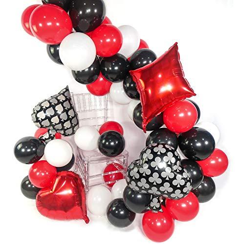PartyWoo トランプ 風船、54個12インチ 3色 バルーン、 風船 赤色、黒 バルーン、白い風船、アルミバルーン、誕生日 飾り付け、 バースデー飾り、結婚式、お祝い、誕生日 飾り付け 男の子