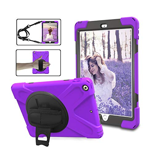 iPad Pro 9.7 Case, AICOO Kids Proof Soft Rubber Shockproof Case Hard Bumper Cover with 360 Degree Rotatable Kickstand and Hand Strap, Portable Shoulder Strap Case for iPad Pro 9.7, Purple
