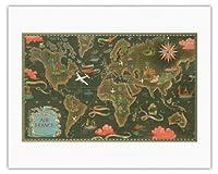 エールフランス地図 - ルート世界地図を飛びます - 星座早見表 - ビンテージな航空会社のポスター によって作成された ルシアン・ブーシェ c.1948 - キャンバスアート - 51cm x 66cm キャンバスアート(ロール)
