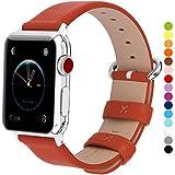 Fullmosa コンパチ Apple Watch バンド ベルト アップルウォッチバンド38mm 42mm apple watch series1 2 3 バンド 本革レザー 交換バンド ラグ付き オレンジ色 42mm