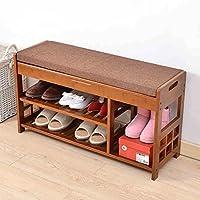シューズラック 靴を交換するスツール靴ラックソリッドウッドを試着する靴をキャビネットの靴をスツール収納スツール (色 : C)