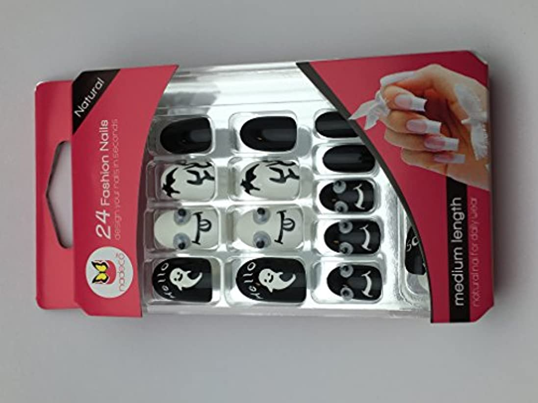 絶対に合図普遍的な【FOUR/G】 白 黒 おばけ デザイン ネイルチップ つけ爪 セット 接着テープ付き 結婚式 二次会 パーティ デート 入学式 入園式 成人式 ghost