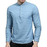 Cloudstyle Mens Dress Shirt Mandarin Collar Chambray Blue Shirt Slim Plaid Checked Henley Shirt