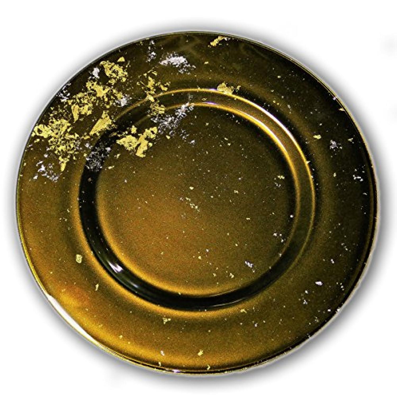 CtoC JAPAN Select 大皿 漆ガラス食器 アンダープレート M(2-A-002) グリーン (約)Φ32.0cm x H1.8cm MAJO 食器 硝子 漆 金箔 NKF 2-A-002