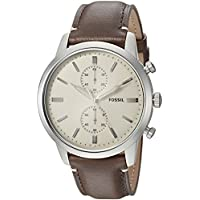 Fossil Townsman Brown Stainless Steel & Calfskin Watch FS5350