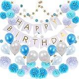 Sunny Bran 誕生日 飾り付け HAPPY BIRTHDAY デコレーションセット ペーパーフラワー バルーン ガーランド マスキングテープ付き セット (ブルー)